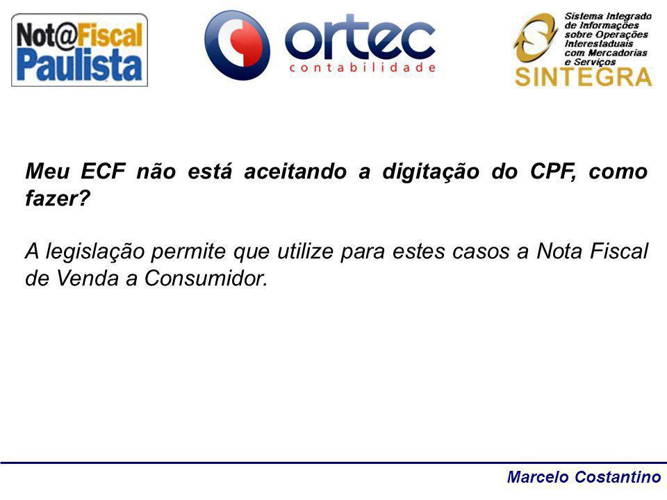 Meu ECF não está aceitando a digitação do CPF, como fazer