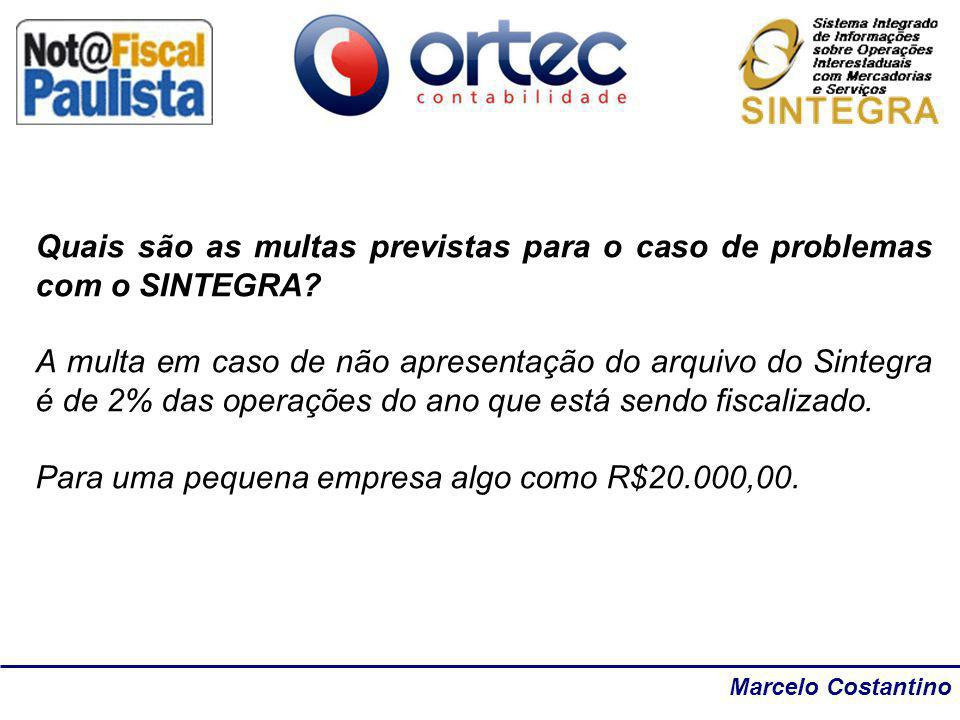 Quais são as multas previstas para o caso de problemas com o SINTEGRA