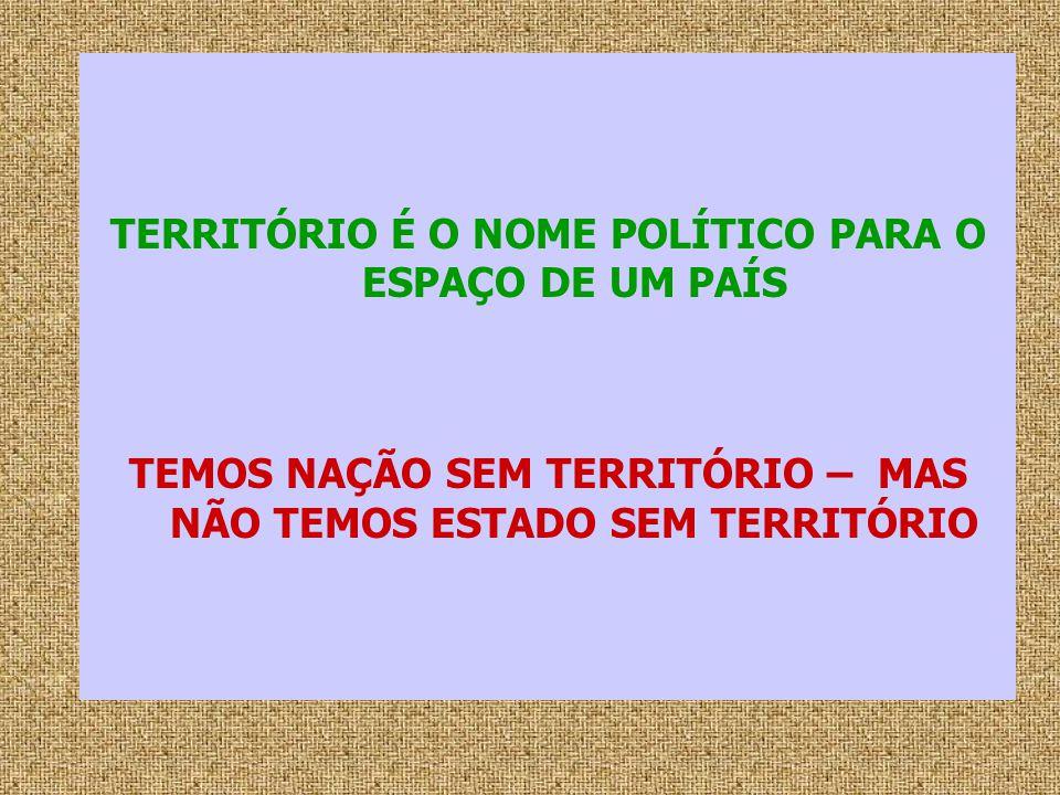 TERRITÓRIO É O NOME POLÍTICO PARA O ESPAÇO DE UM PAÍS