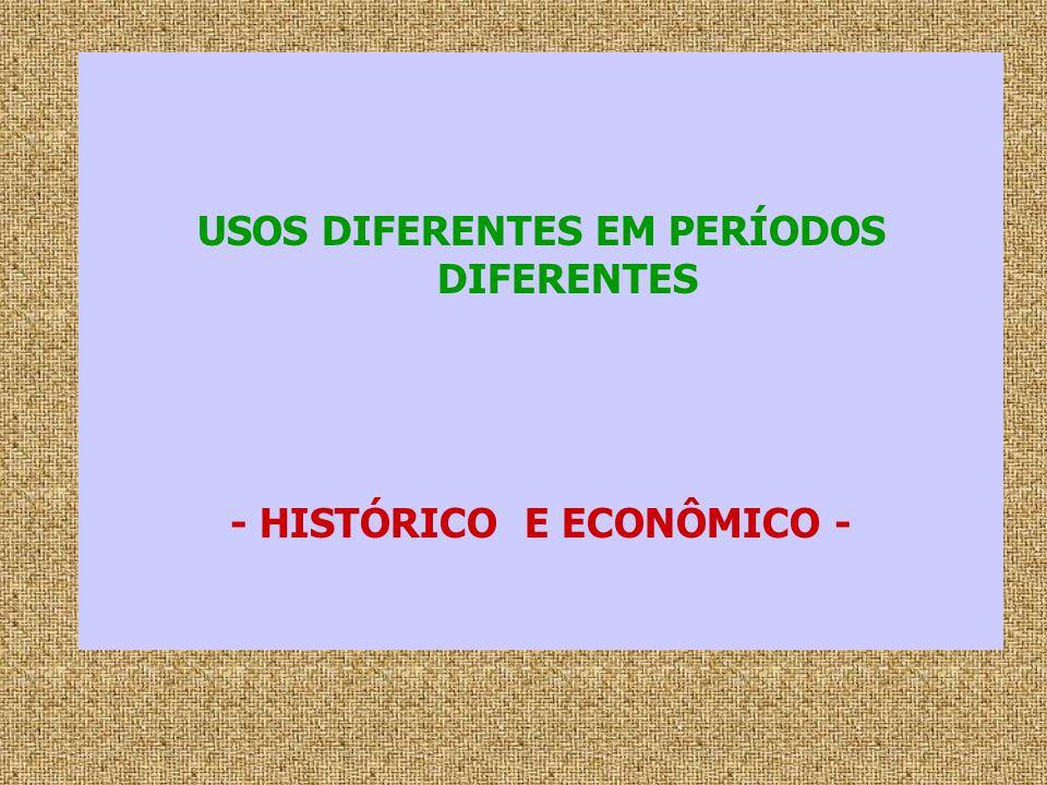 USOS DIFERENTES EM PERÍODOS DIFERENTES - HISTÓRICO E ECONÔMICO -