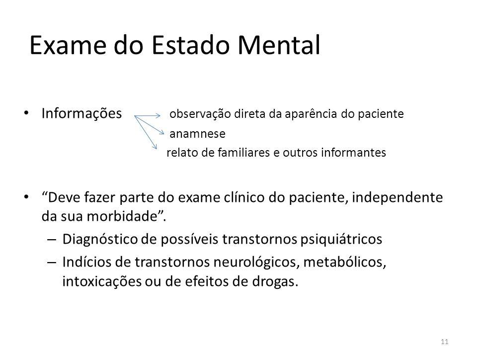 Exame do Estado Mental Informações observação direta da aparência do paciente. anamnese. relato de familiares e outros informantes.