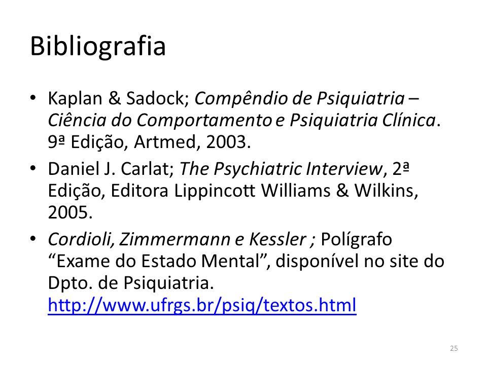 Bibliografia Kaplan & Sadock; Compêndio de Psiquiatria – Ciência do Comportamento e Psiquiatria Clínica. 9ª Edição, Artmed, 2003.