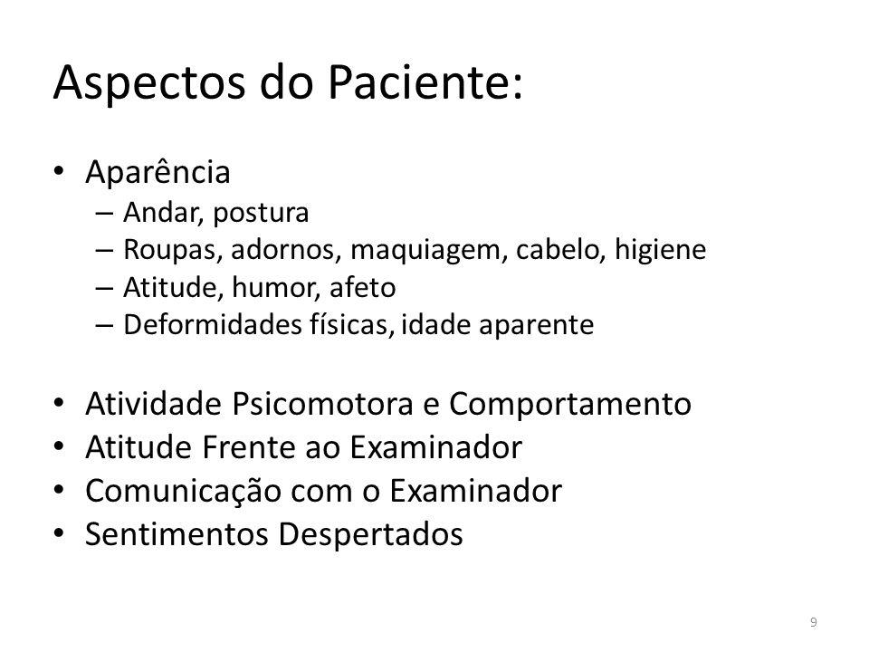 Aspectos do Paciente: Aparência Atividade Psicomotora e Comportamento
