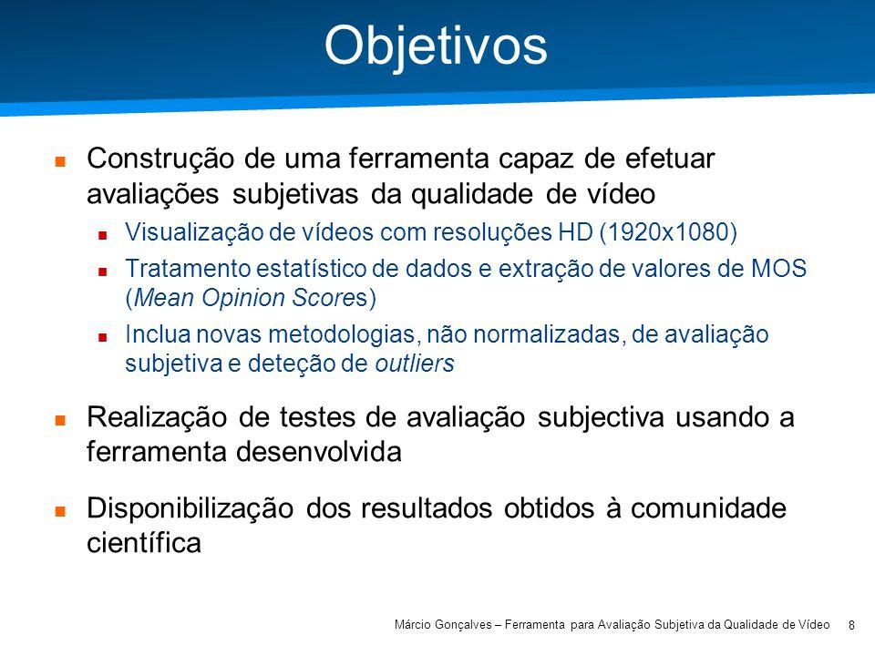 Objetivos Construção de uma ferramenta capaz de efetuar avaliações subjetivas da qualidade de vídeo.