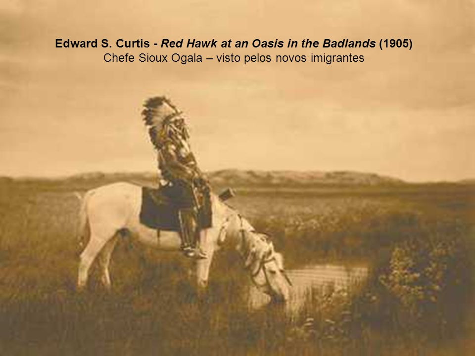 Edward S. Curtis - Red Hawk at an Oasis in the Badlands (1905)