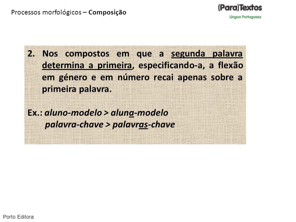 Ex.: aluno-modelo > aluna-modelo palavra-chave > palavras-chave