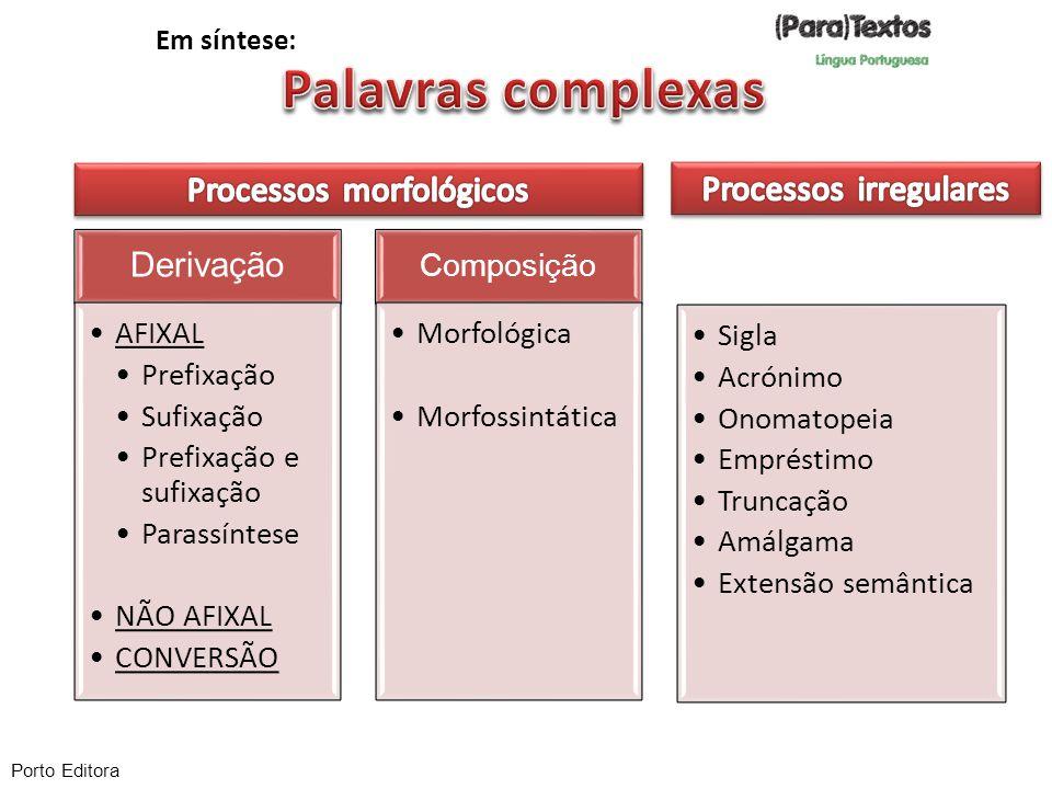 Palavras complexas Derivação Processos morfológicos