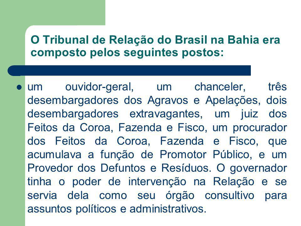 O Tribunal de Relação do Brasil na Bahia era composto pelos seguintes postos: