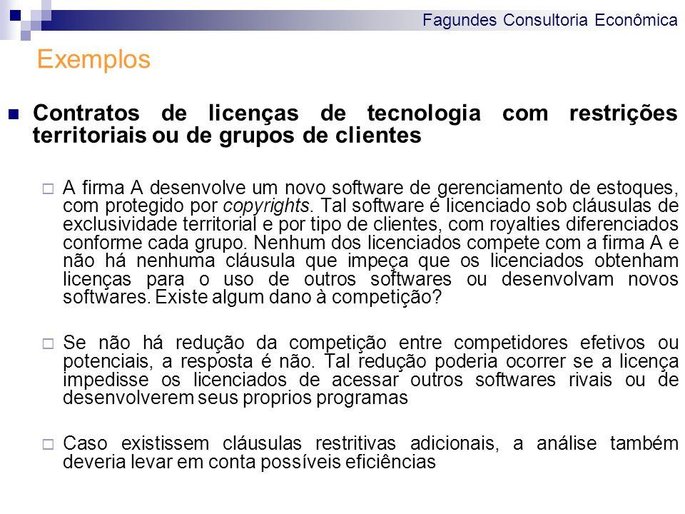 Exemplos Contratos de licenças de tecnologia com restrições territoriais ou de grupos de clientes.