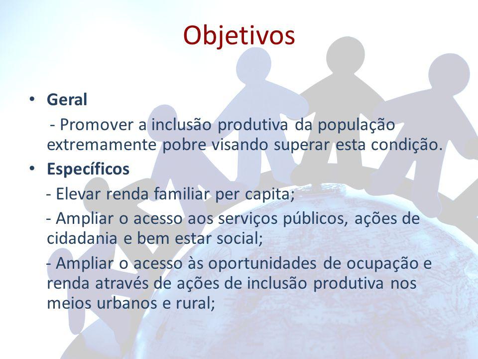 Objetivos Geral. - Promover a inclusão produtiva da população extremamente pobre visando superar esta condição.