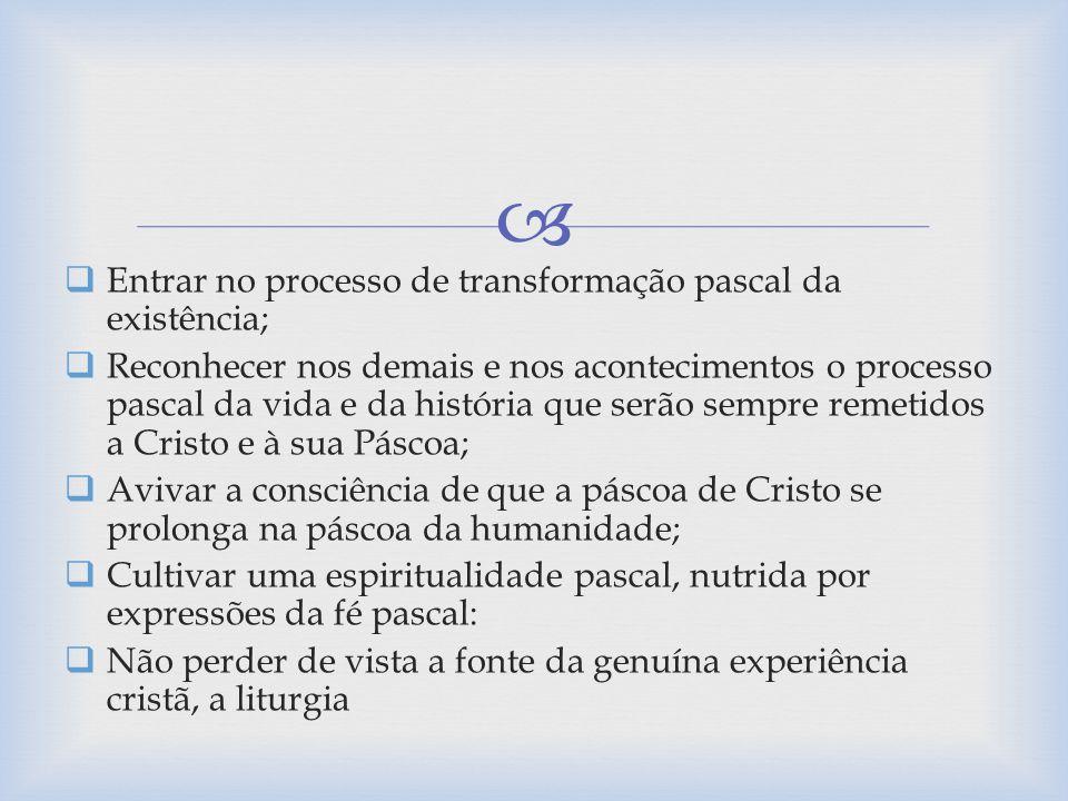 Entrar no processo de transformação pascal da existência;