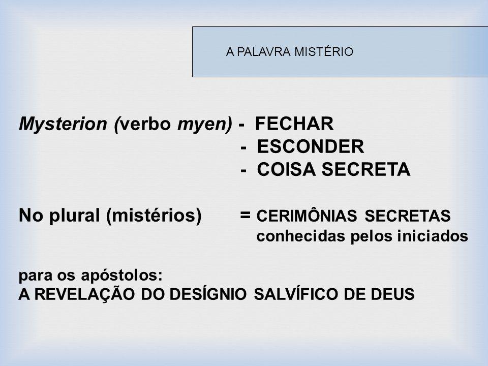 Mysterion (verbo myen) - FECHAR - ESCONDER - COISA SECRETA