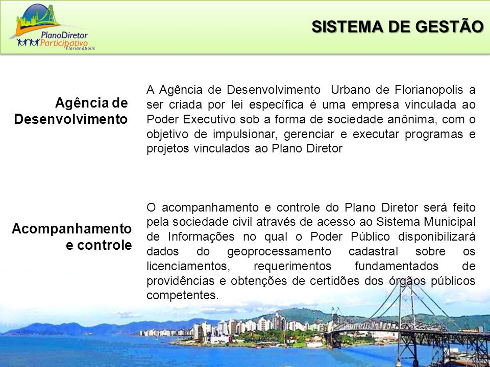 SISTEMA DE GESTÃO Agência de Desenvolvimento Acompanhamento e controle
