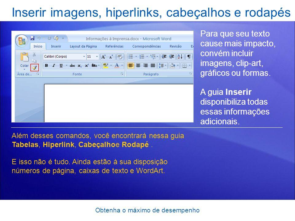 Inserir imagens, hiperlinks, cabeçalhos e rodapés