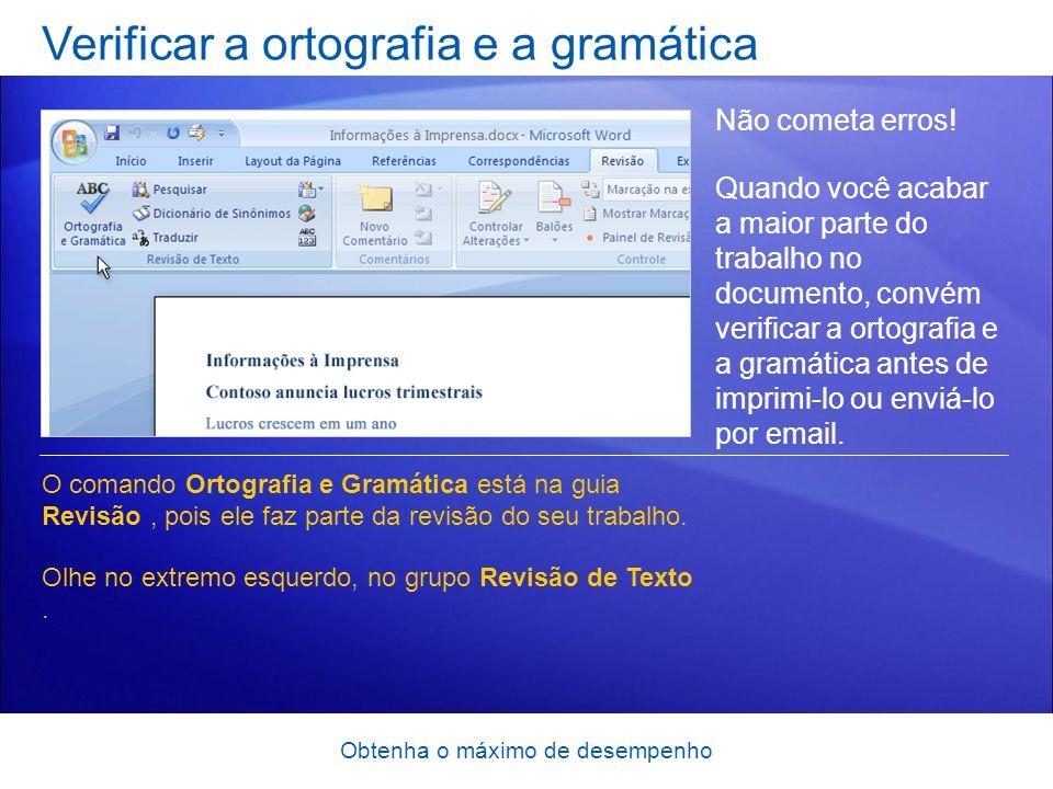 Verificar a ortografia e a gramática