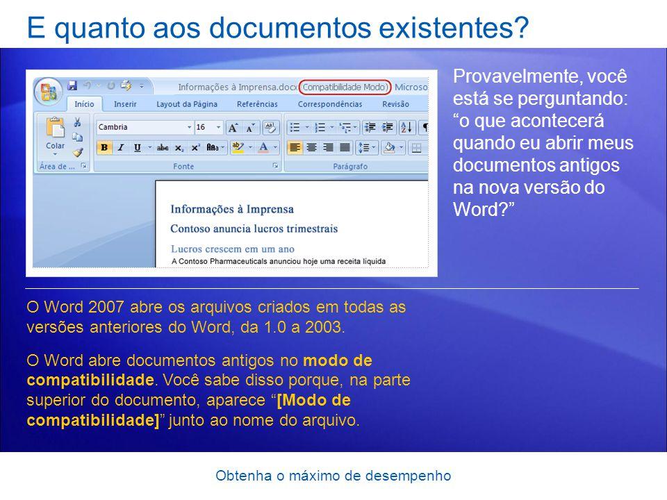 E quanto aos documentos existentes