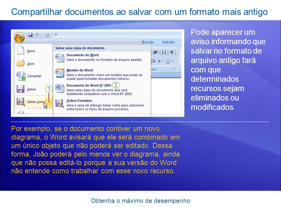 Compartilhar documentos ao salvar com um formato mais antigo