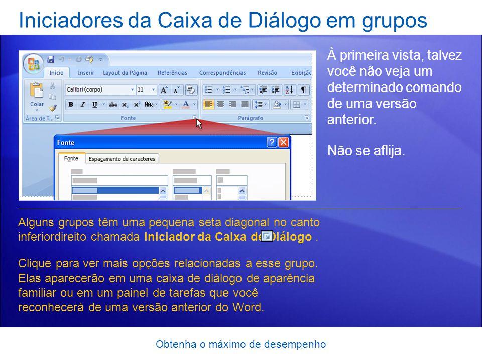 Iniciadores da Caixa de Diálogo em grupos
