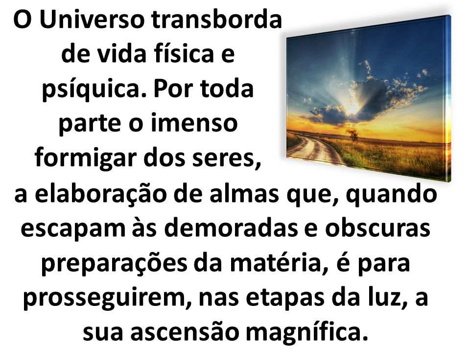 O Universo transborda de vida física e psíquica