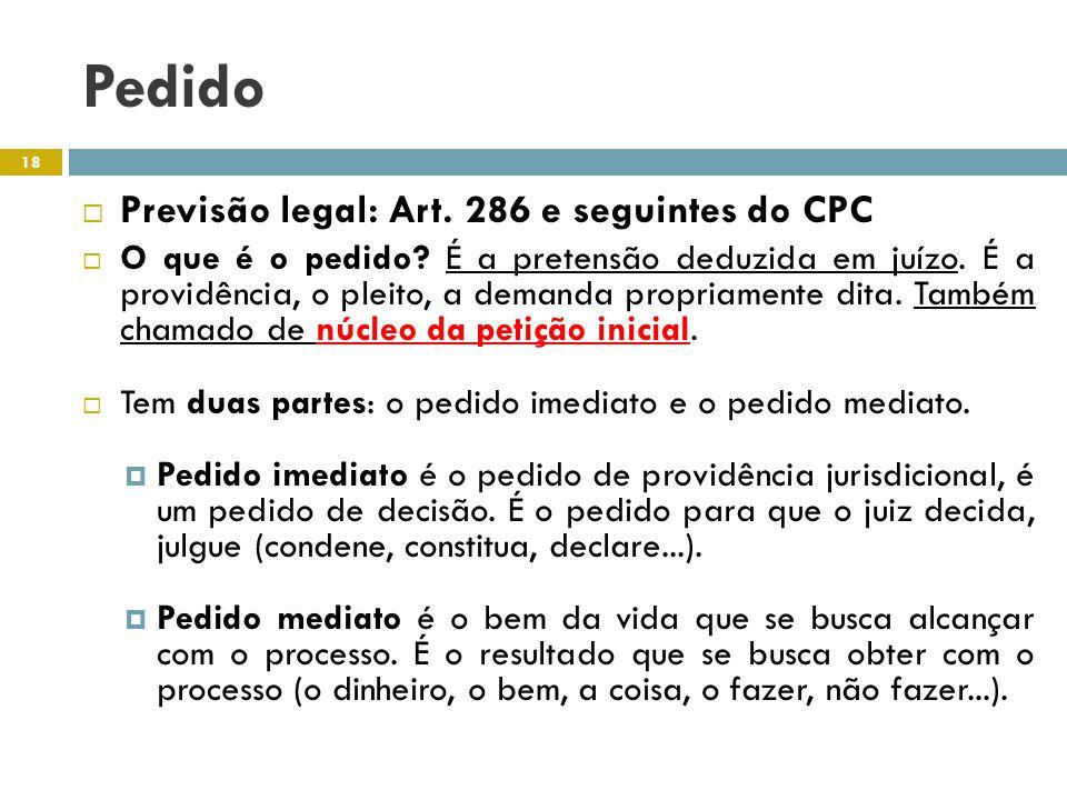 Pedido Previsão legal: Art. 286 e seguintes do CPC