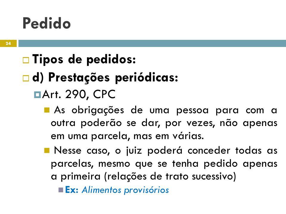 Pedido Tipos de pedidos: d) Prestações periódicas: Art. 290, CPC