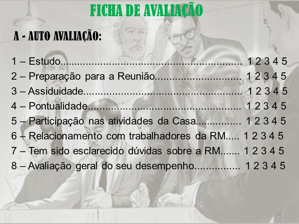 FICHA DE AVALIAÇÃO A - AUTO AVALIAÇÃO:
