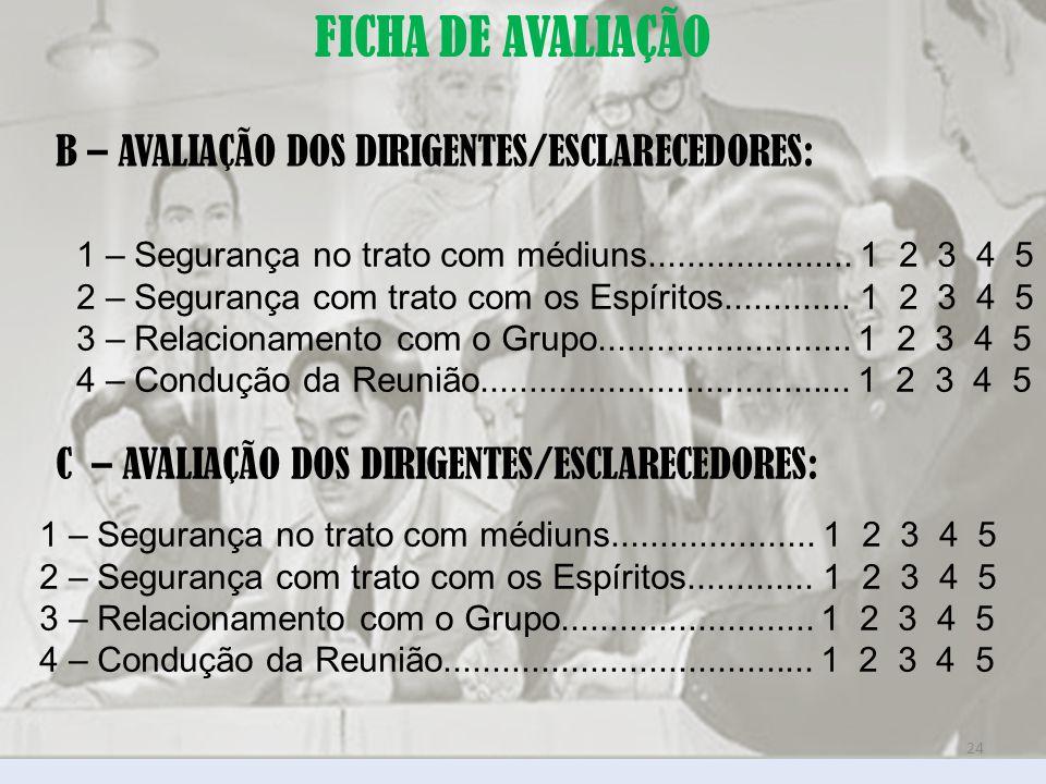 FICHA DE AVALIAÇÃO B – AVALIAÇÃO DOS DIRIGENTES/ESCLARECEDORES:
