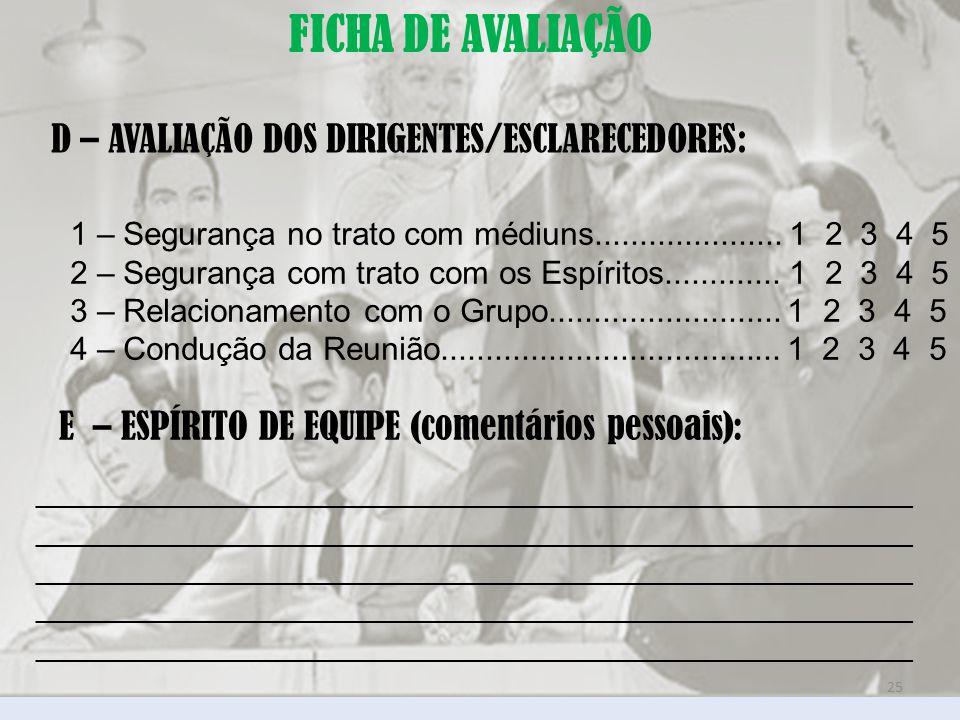 FICHA DE AVALIAÇÃO D – AVALIAÇÃO DOS DIRIGENTES/ESCLARECEDORES: