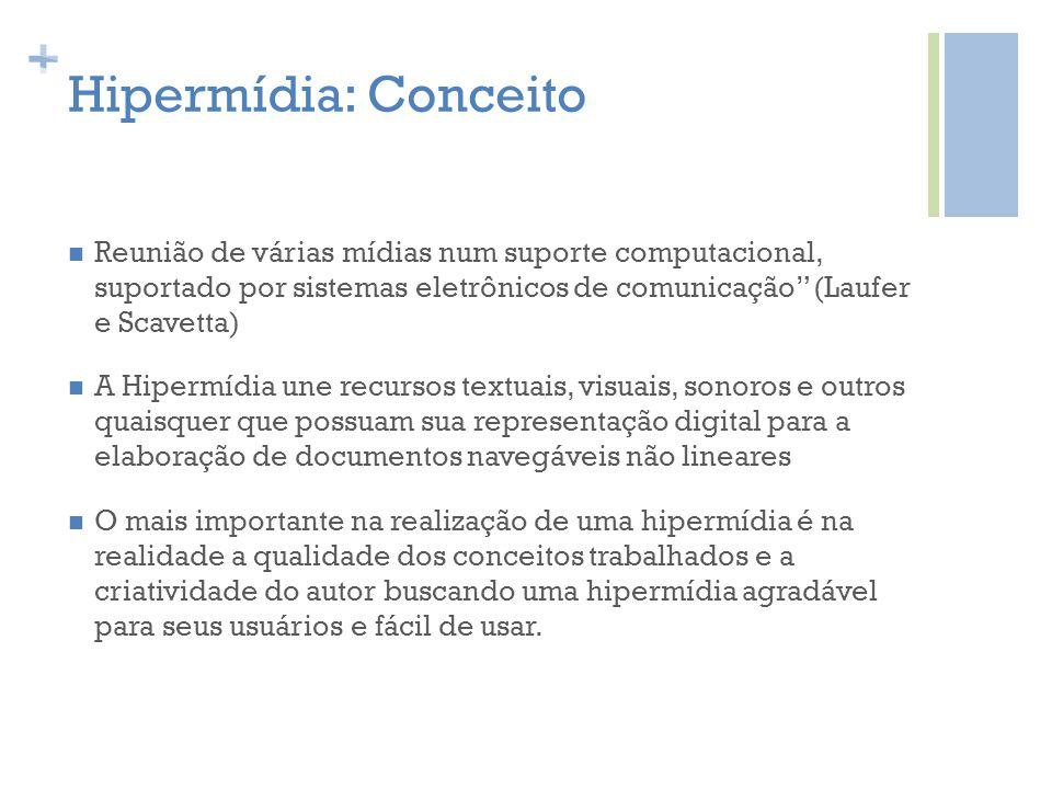 Hipermídia: Conceito Reunião de várias mídias num suporte computacional, suportado por sistemas eletrônicos de comunicação (Laufer e Scavetta)