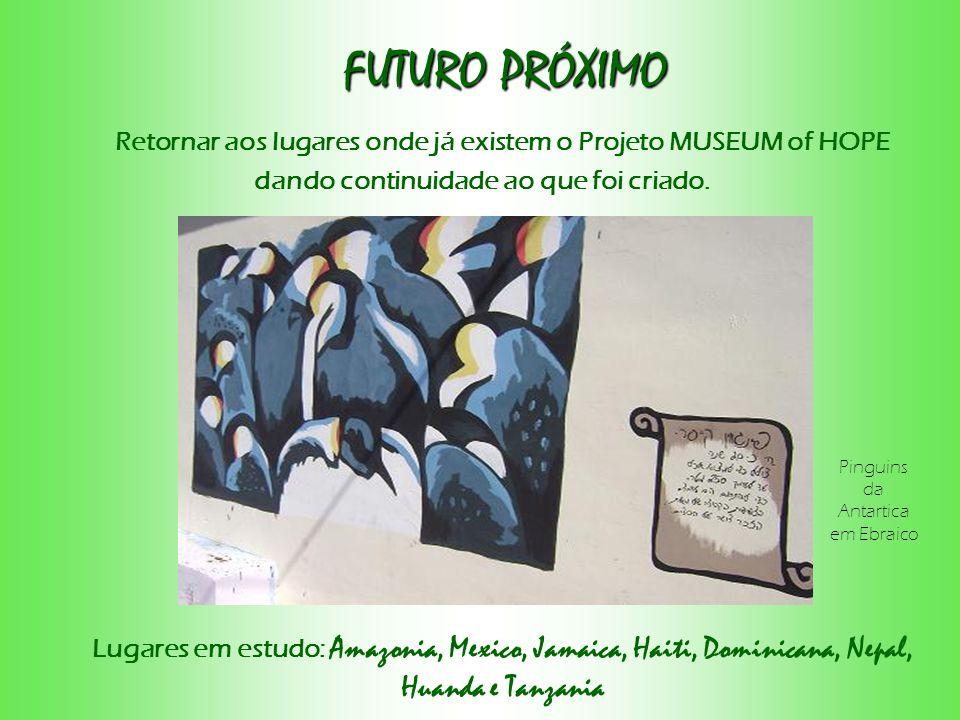 FUTURO PRÓXIMO Retornar aos lugares onde já existem o Projeto MUSEUM of HOPE. dando continuidade ao que foi criado.