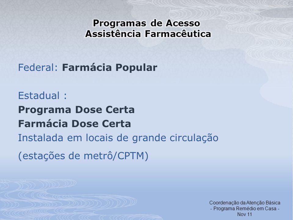 Programas de Acesso Assistência Farmacêutica