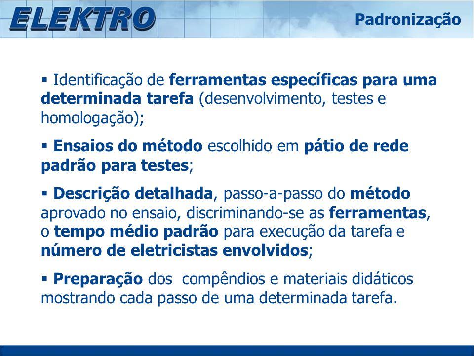 Ensaios do método escolhido em pátio de rede padrão para testes;