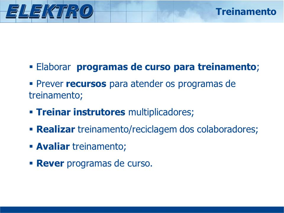 Elaborar programas de curso para treinamento;