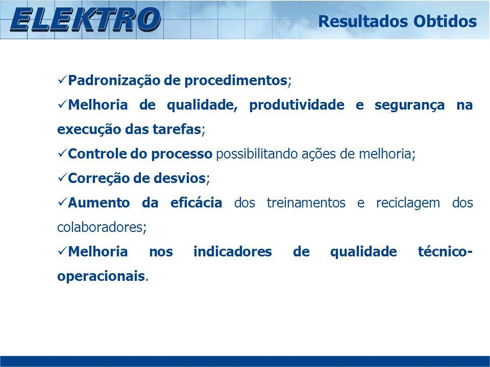 Resultados Obtidos Padronização de procedimentos;