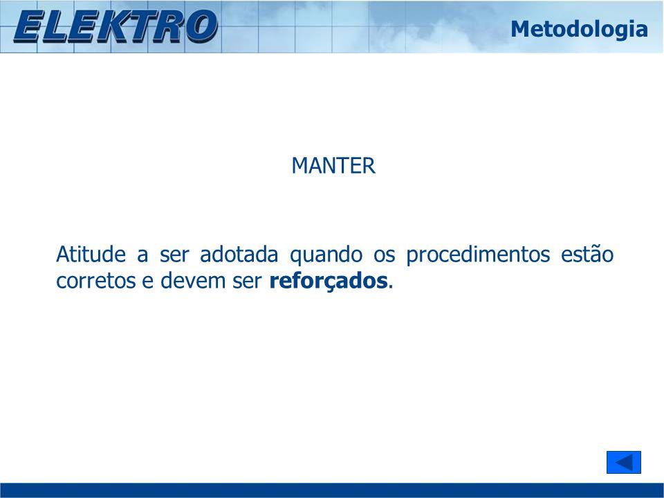 Metodologia MANTER. Atitude a ser adotada quando os procedimentos estão corretos e devem ser reforçados.