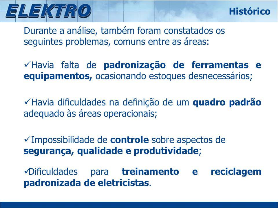 Histórico Durante a análise, também foram constatados os seguintes problemas, comuns entre as áreas: