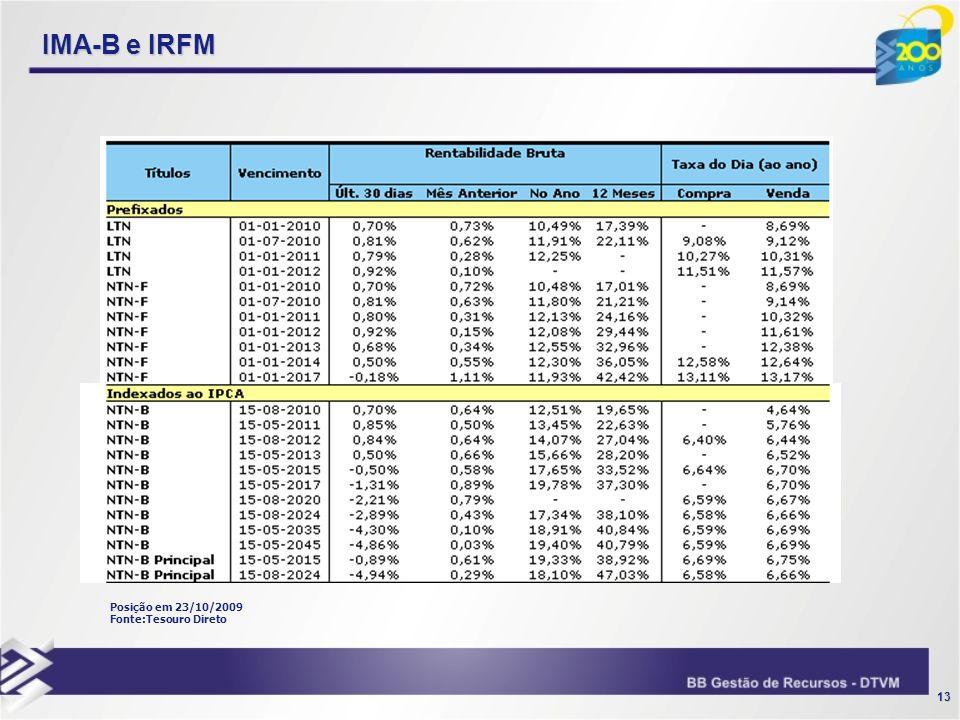 IMA-B e IRFM Posição em 23/10/2009 Fonte:Tesouro Direto