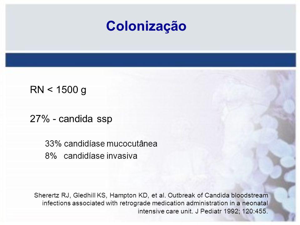 Colonização RN < 1500 g 27% - candida ssp