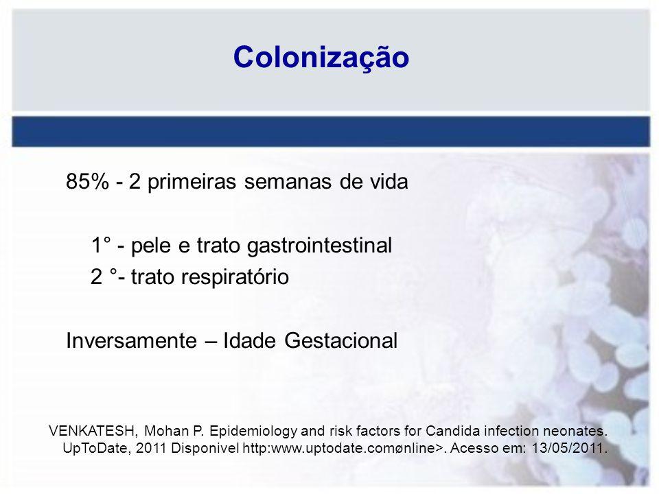 Colonização 85% - 2 primeiras semanas de vida