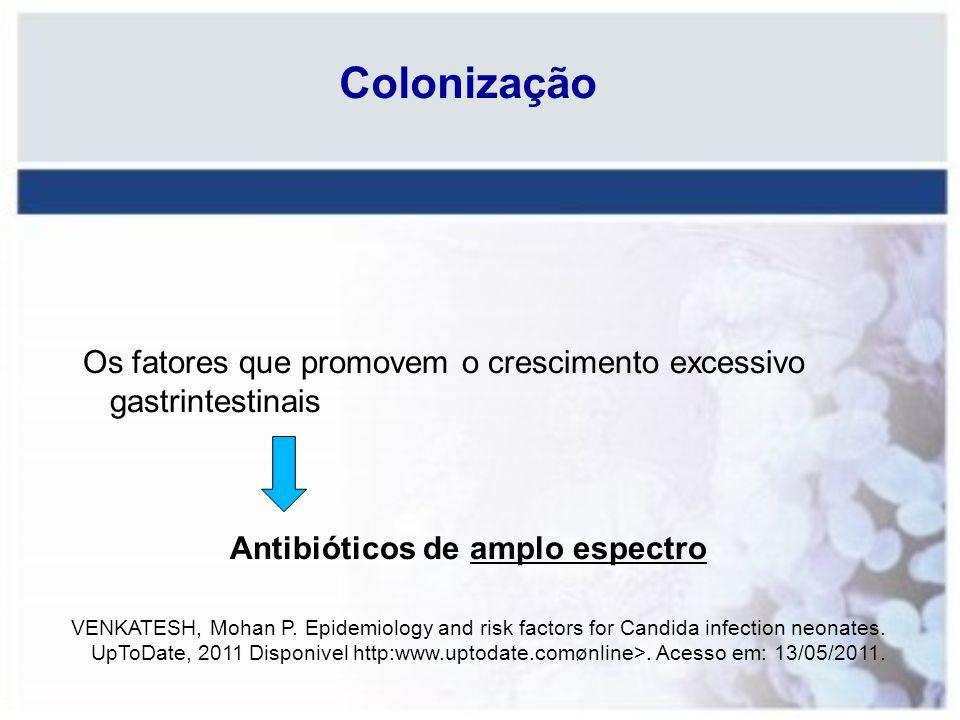 Colonização Os fatores que promovem o crescimento excessivo gastrintestinais. Antibióticos de amplo espectro.