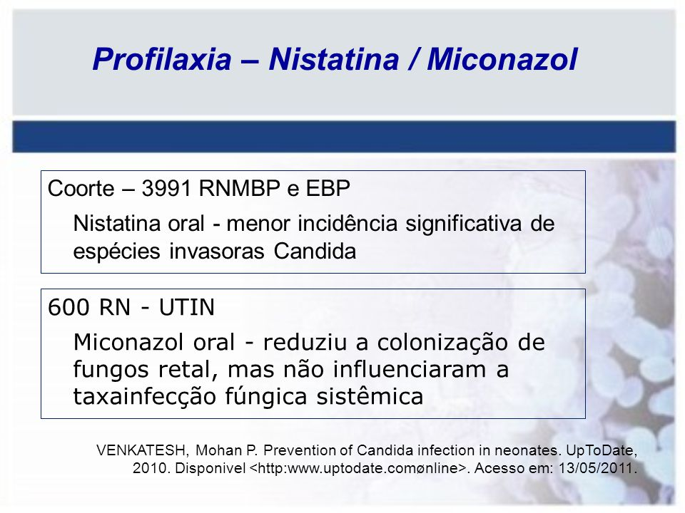 Profilaxia – Nistatina / Miconazol
