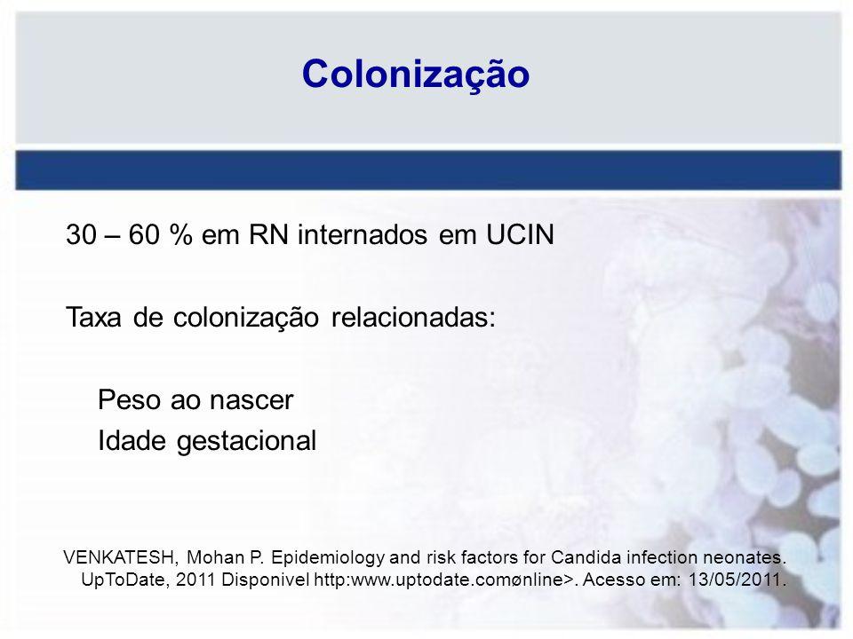 Colonização 30 – 60 % em RN internados em UCIN