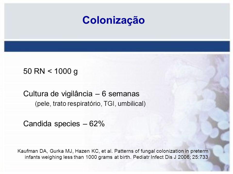 Colonização 50 RN < 1000 g Cultura de vigilância – 6 semanas