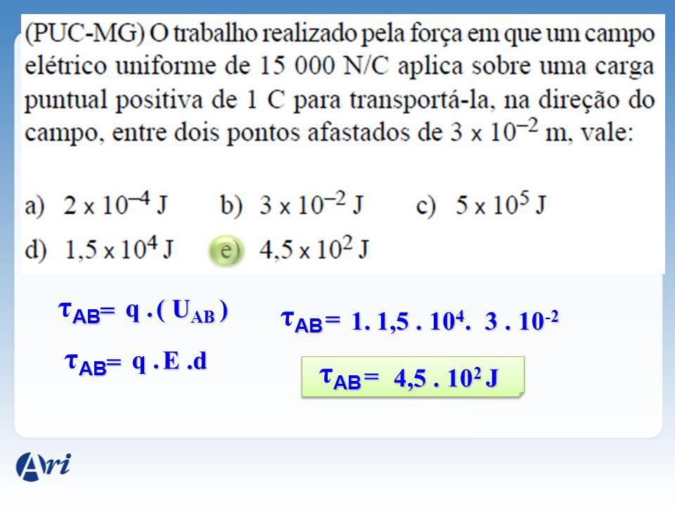 τAB τAB τAB τAB = q . ( UAB ) = 1. 1,5 . 104. 3 . 10-2 = q . E .d =