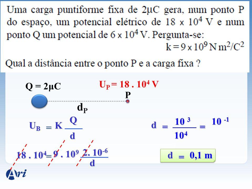 dP UP = 18 . 104 V Q = 2μC P Q 10 3 10 -1 UB K d = = = d 104 2. 10-6