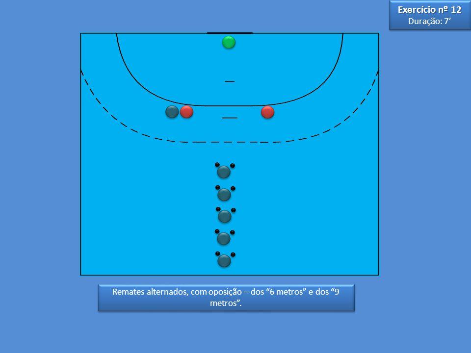 Remates alternados, com oposição – dos 6 metros e dos 9 metros .