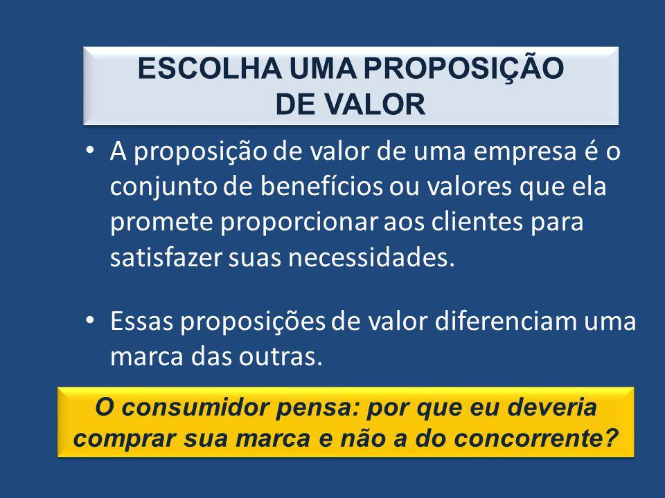 ESCOLHA UMA PROPOSIÇÃO DE VALOR