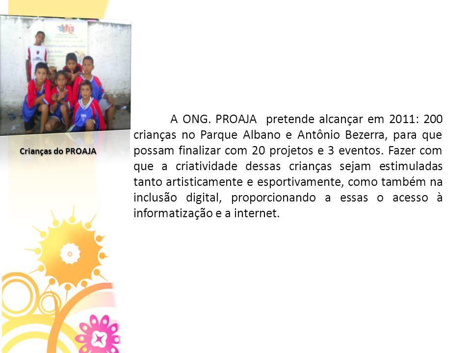A ONG. PROAJA pretende alcançar em 2011: 200 crianças no Parque Albano e Antônio Bezerra, para que possam finalizar com 20 projetos e 3 eventos. Fazer com que a criatividade dessas crianças sejam estimuladas tanto artisticamente e esportivamente, como também na inclusão digital, proporcionando a essas o acesso à informatização e a internet.