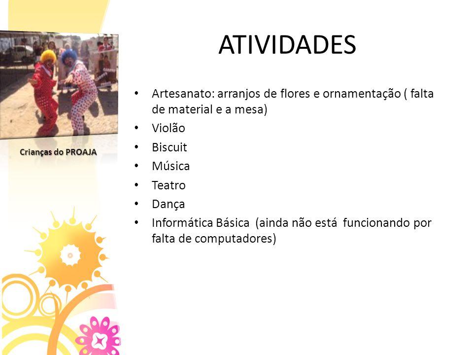 ATIVIDADES Artesanato: arranjos de flores e ornamentação ( falta de material e a mesa) Violão. Biscuit.