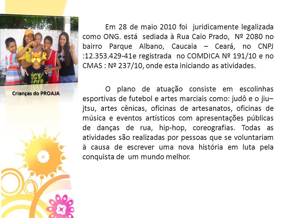 Em 28 de maio 2010 foi juridicamente legalizada como ONG